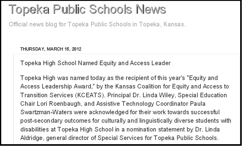 news release as published on the Topeka Public Schools website