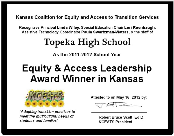 KCEATS certificate awarded to Topeka High School in May 2012